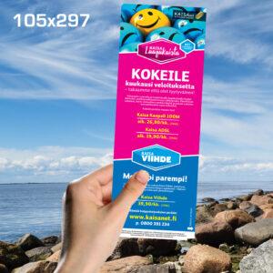 Kuopion Liikekirjapaino painaa flyerit tuotteidesi tai palvelujesi mainostamiseen. Kuvassa flyer koossa 105x297 mm.