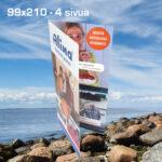 Kuopion Liikekirjapaino painaa esitteet tuotteidesi tai palvelujesi mainostamiseen. Kuvassa taitettu esite koossa 99x210 mm 4 sivua.