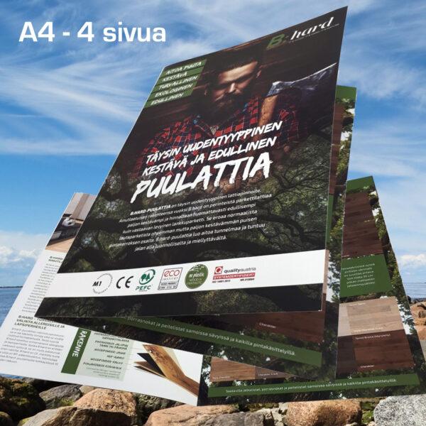 Kuopion Liikekirjapaino painaa esitteet tuotteidesi tai palvelujesi mainostamiseen. Kuvassa taitettu esite koossa A4 4 sivua.