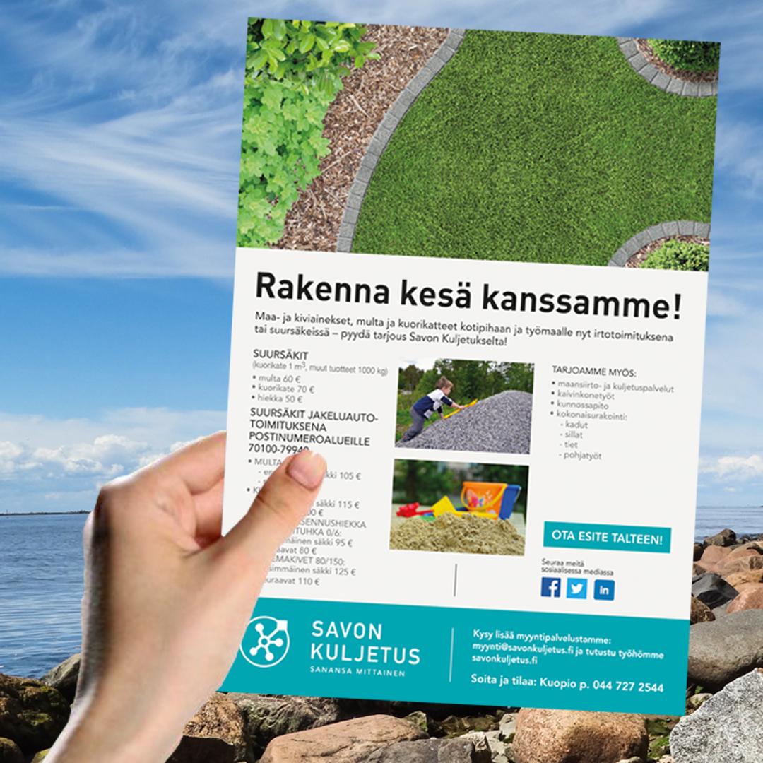 Kuopion Liikekirjapaino painaa flyerit tuotteidesi tai palvelujesi mainostamiseen. Kuvassa flyer koossa A4.