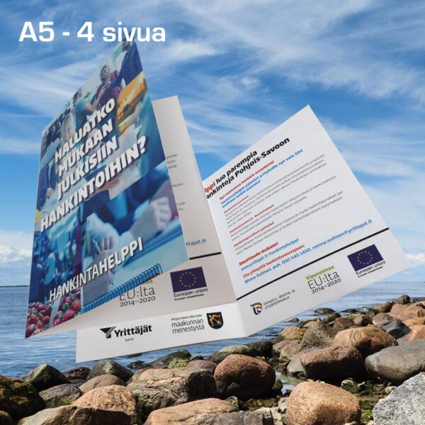 Kuopion Liikekirjapaino painaa esitteet tuotteidesi tai palvelujesi mainostamiseen. Kuvassa taitettu esite koossa A5 4 sivua.