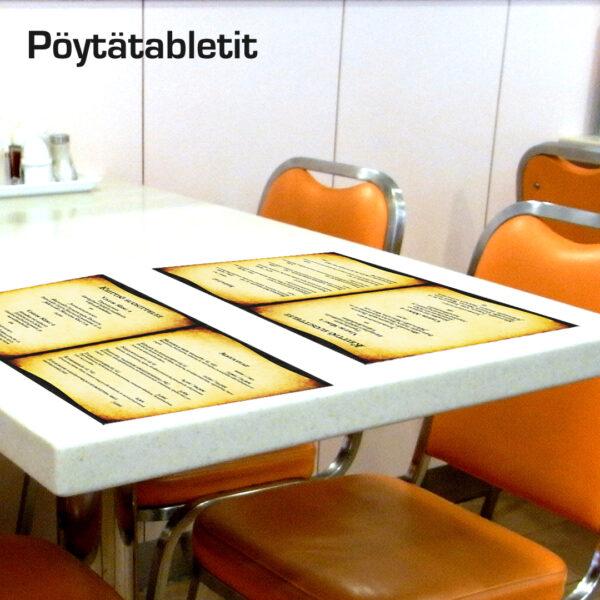 Kuopion Liikekirjapainosta tilaat pöytätabletit ravintolaan nopeasti ja edullisesti.