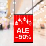 Kuopion Liikekirjapaino tulostaa julisteet myymälämarkkinointiin. Kuvassa alennennusmyynnistä kertova juliste koossa A1.