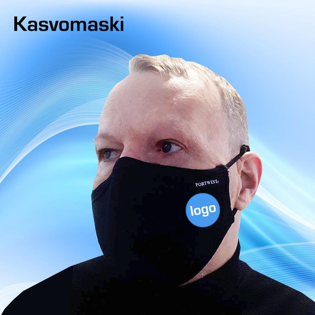 Kuopion Liikekirjapainosta tilaat logopainetetut kasvomaskit.