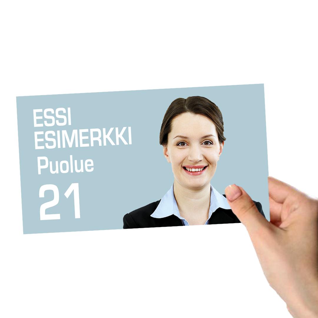 Vaalikäyntikortti Kuopion Liikekirjapaino Oy